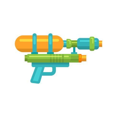 Speelgoed waterpistool platte pictogram vector
