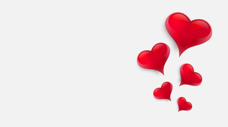 Lege achtergrond versierd met harten. Vector illustratie