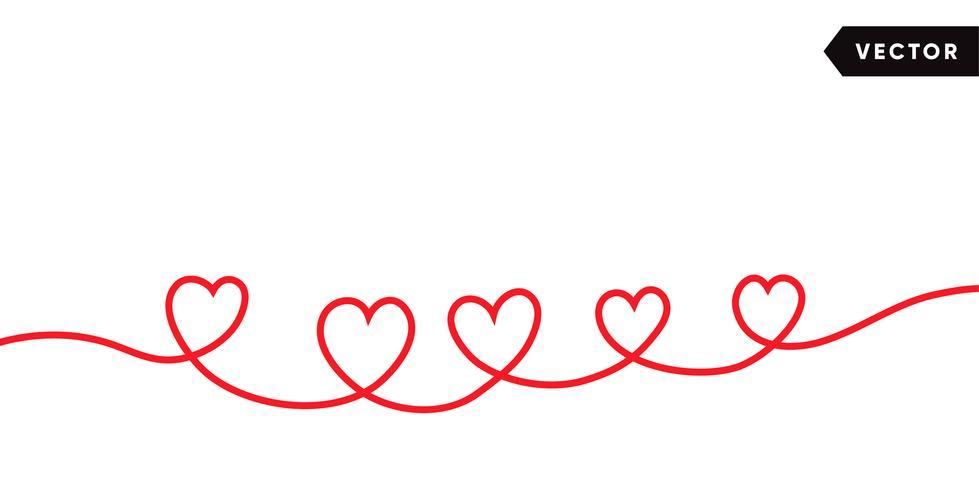 Ononderbroken één lijntekening van rood die hart op witte achtergrond wordt geïsoleerd. Vector illustratie