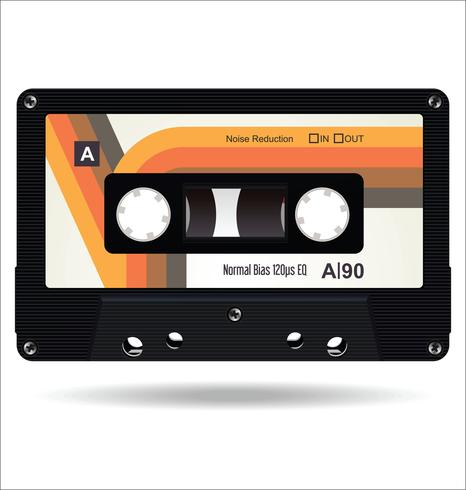 Retro vintage platte concept vectorillustratie van de cassetteband vector