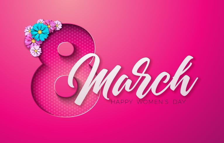 = Happy Women's Day Floral wenskaart vector
