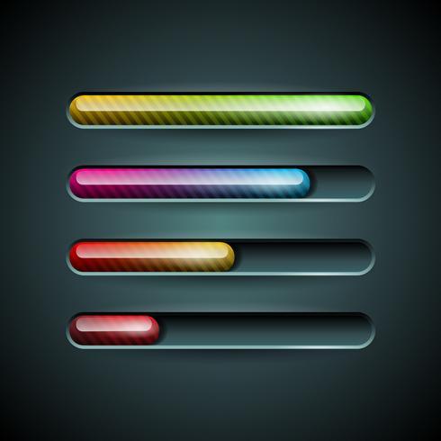 Vector glanzende vooruitgangsindicator die op een donkere achtergrond wordt geplaatst.