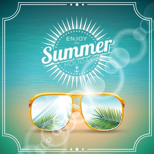 Vectorillustratie op een thema van de de zomervakantie met zonnebril. vector