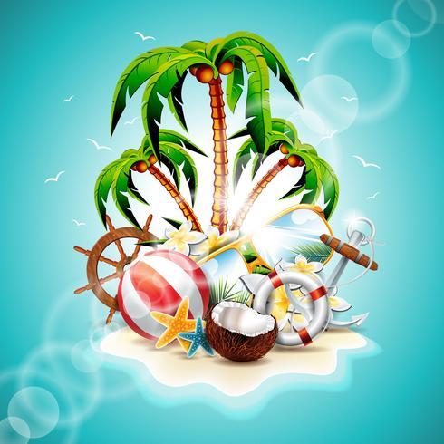 Vectorillustratie op een thema van de zomervakantie vector