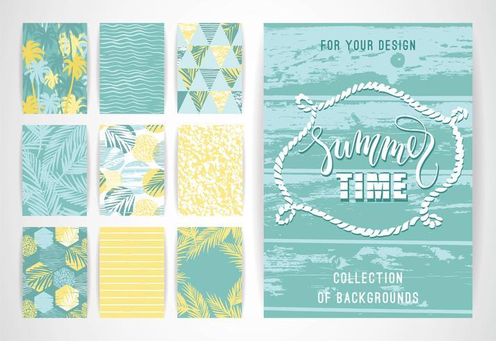 Set zomer achtergrond sjablonen. Ontwerpelementen voor poster, brochure, kaart, omslag, flyer, web en andere gebruikers. vector