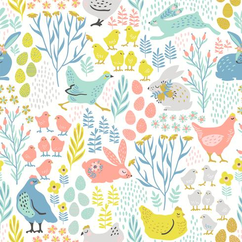Vector naadloos patroon met konijntjes en kip voor Pasen en andere gebruikers
