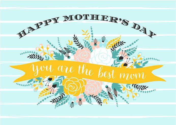 Happy Mothers Day belettering wenskaart met bloemen. vector