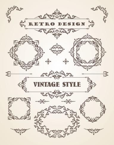 Set van retro vintage badges, kaders, etiketten en randen. vector