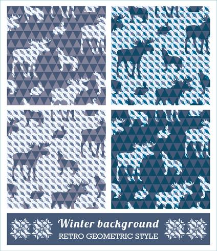 Winter geometrische naadloze patronen. vector