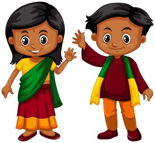 Jongen en meisje uit Srilanka vector