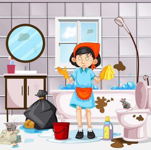 Een meid die vuile badkamers schoonmaakt vector