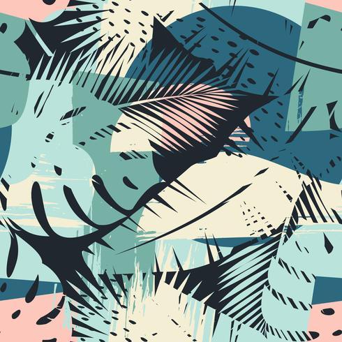 Naadloos exotisch patroon met tropische planten en artistieke achtergrond vector