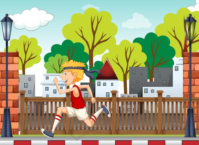 Een jonge man training voor marathon vector