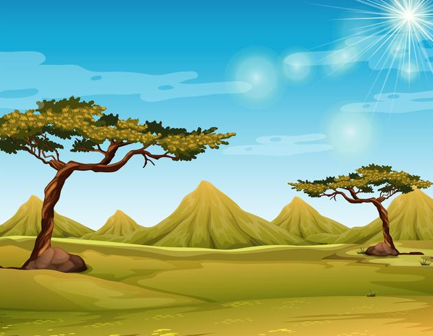 Scène met veld en heuvels vector