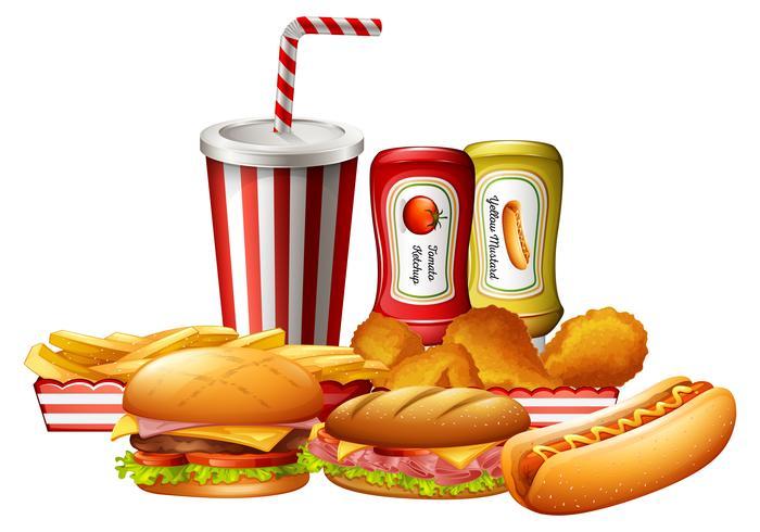 Een set ongezond fastfood vector