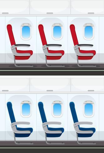 Set van vliegtuigstoel lay-out vector