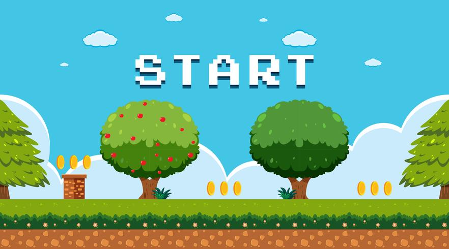 Spel sjabloon in tuin scène vector