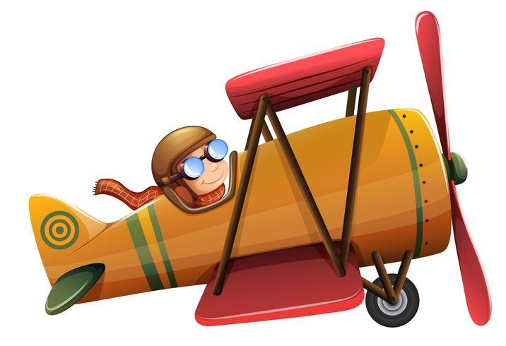 Een man rijdt klassiek vliegtuig vector