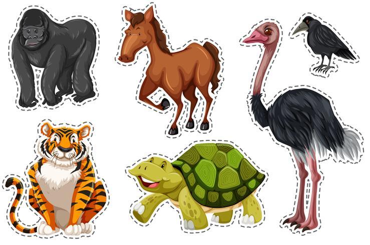 Sticker met verschillende wilde dieren vector