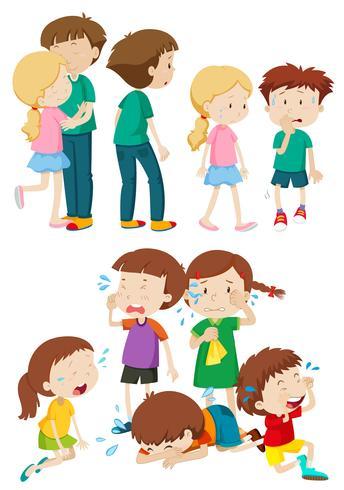 Kinderen in verschillende emoties vector
