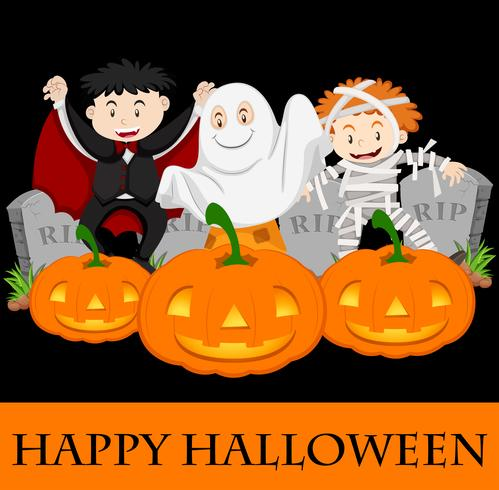 Happy Halloween-kaartsjabloon met kinderen in kostuum vector