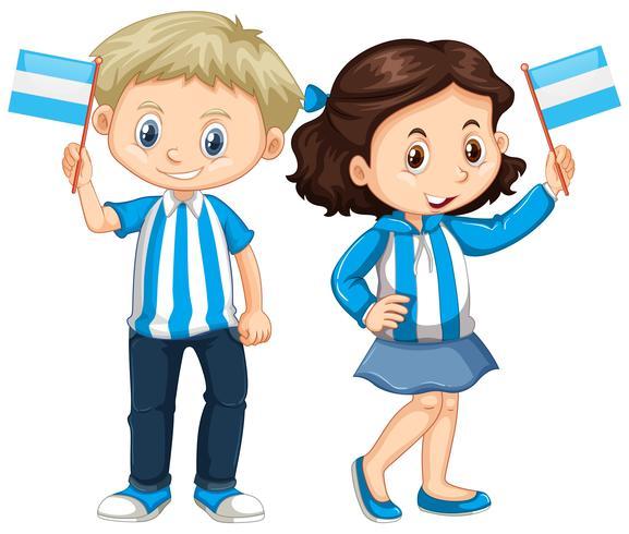 Jongen en meisje Argentinië vlag te houden vector