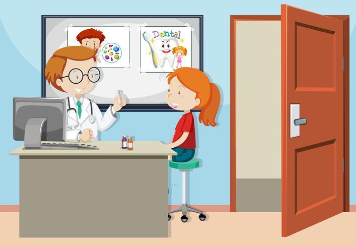 een meisje overlegt met de dokter vector