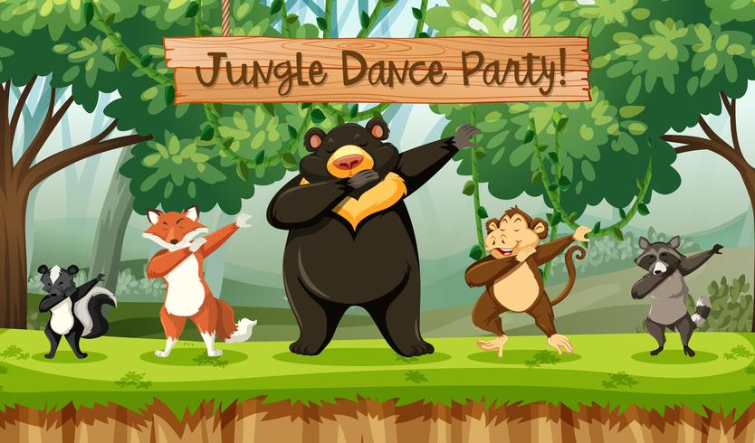 jungle dance party dieren vector