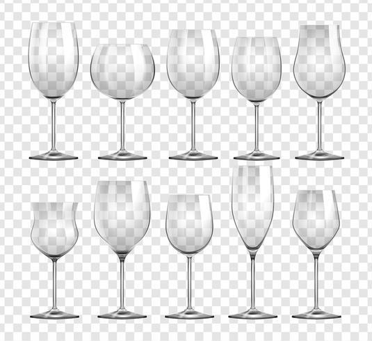 Verschillende soorten wijnglazen vector