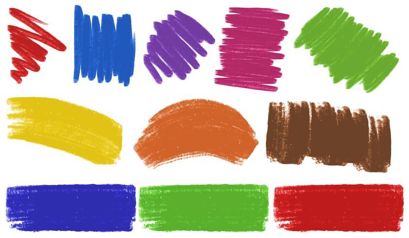 Penseelstreken in veel kleuren vector