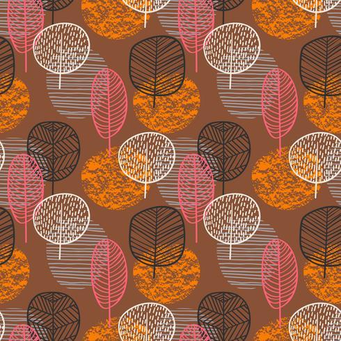 Abstract de herfst naadloos patroon met bomen. vector