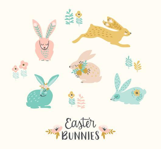 Gelukkig Pasen. Vector reeks van Pasen-konijntjes voor kaart, affiche, vlieger en andere gebruikers.