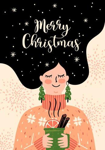 Kerstmis en gelukkig Nieuwjaar illustratie. Trendy retro-stijl. vector