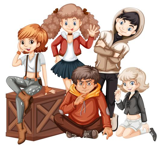 Groep jonge tiener vector
