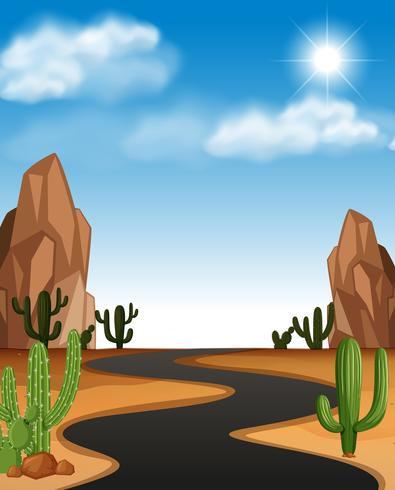 Woestijnscène met weg en cactus vector