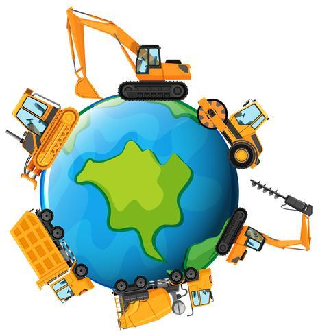 Verschillende soorten tractoren op aarde vector