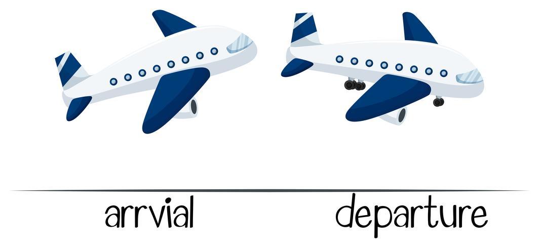 Tegengestelde woorden voor aankomst en vertrek vector
