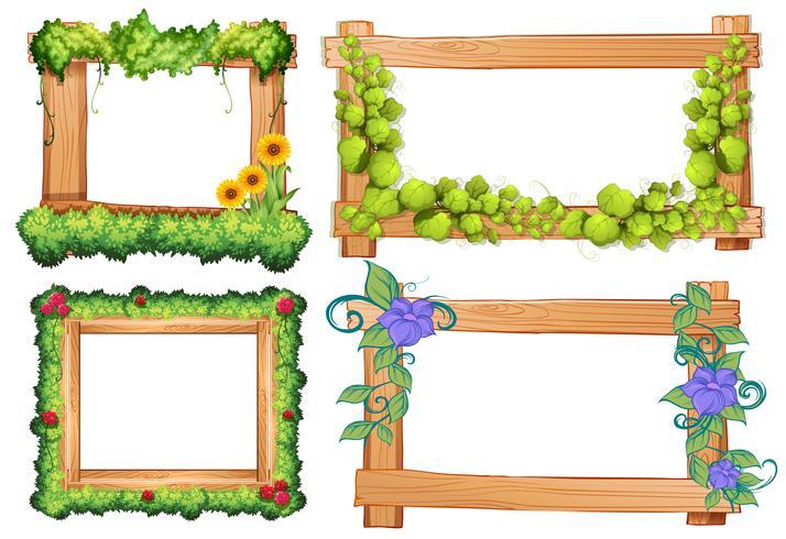 Houten lijsten met wijnstok en bloemen vector