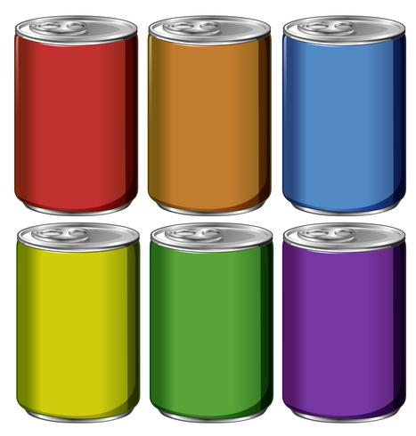 Aluminium blikjes in zes kleuren vector