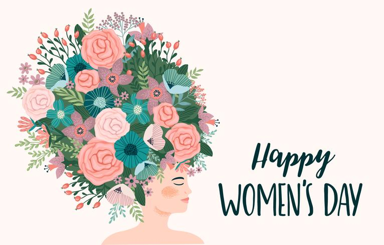 Internationale Vrouwendag. Vectormalplaatje met leuke vrouw vector