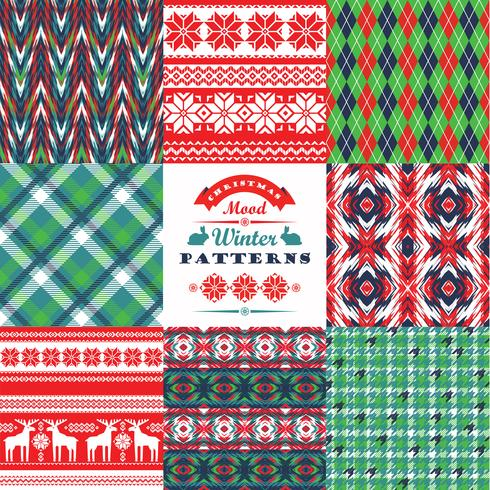 Kerstmis en Nieuwjaar Set. Plaid en sier naadloze backgr vector
