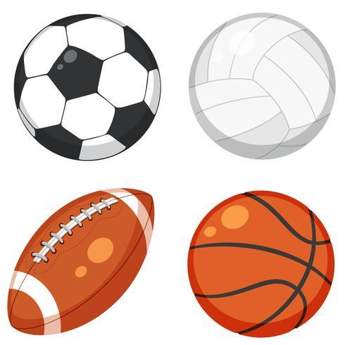 Set van bal op witte achtergrond vector