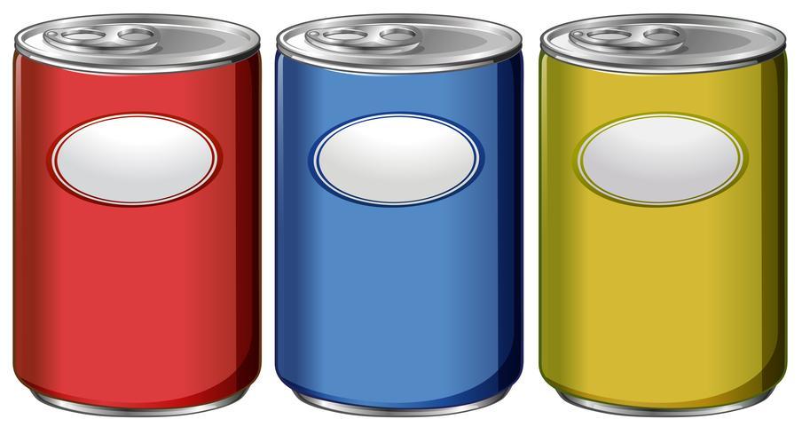 Drie blikjes met verschillende kleurenetiketten vector