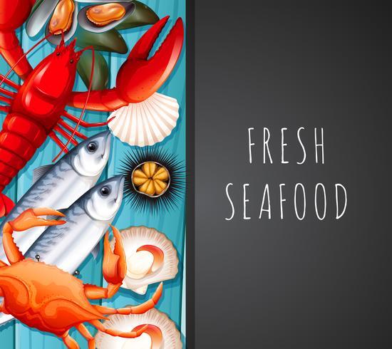 Zeevruchten op restaurantmalplaatje vector