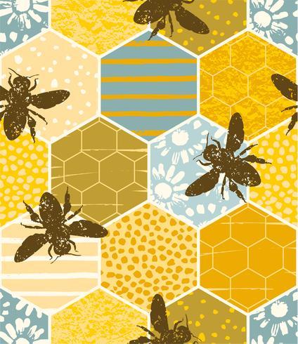 Naadloos geometrisch patroon met bij. Modern abstract honingsontwerp. vector