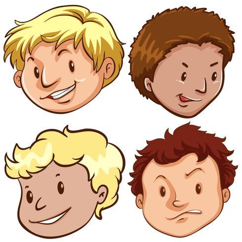 Set van verschillende mannelijke hoofd vector