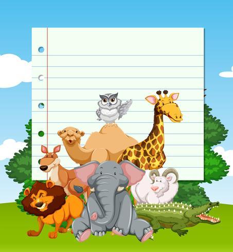 Papiersjabloon met wilde dieren in het veld vector