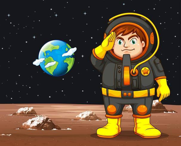 Astronaut in zwart ruimtepak die zich op planeet bevinden vector