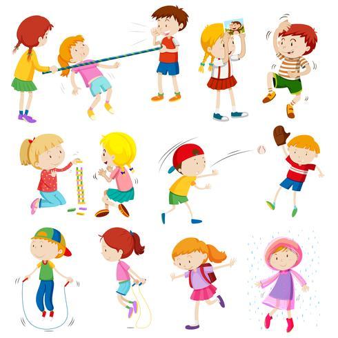 Kinderen doen verschillende activiteiten vector
