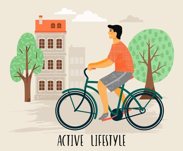 Vectorillustratie van de mens op een fiets. Gezonde levensstijl. vector